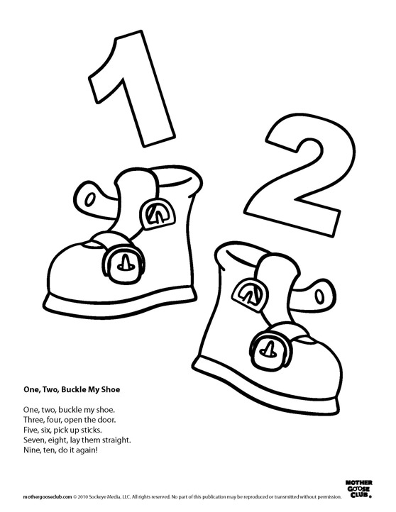 1 2 buckle my shoe coloring page photo - 1