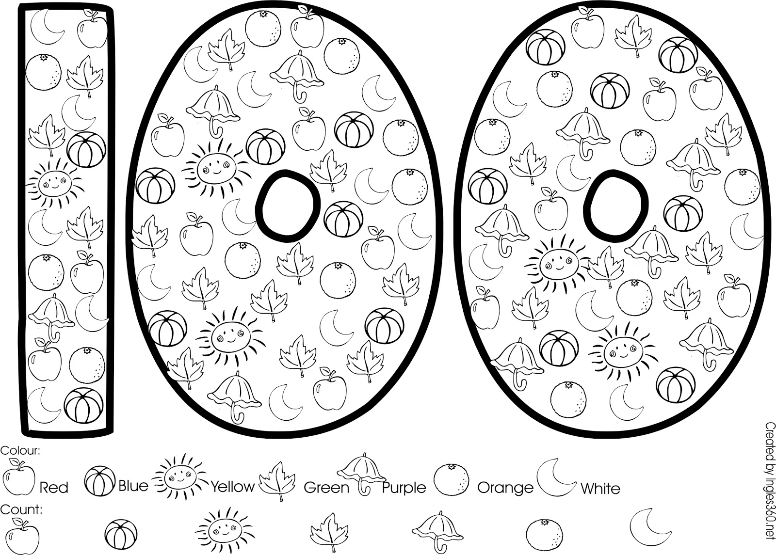 100th day coloring pages free photo - 1