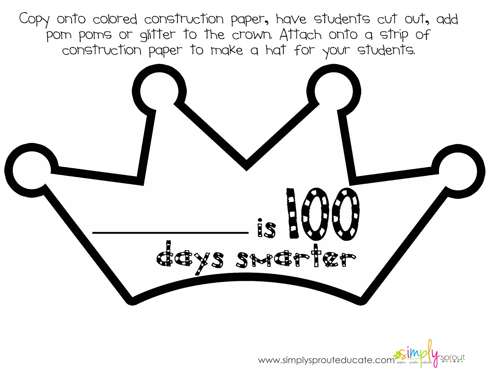 100th day of school coloring page photo - 1
