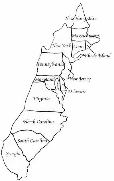 13 colonies map printable coloring page photo - 1