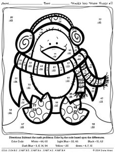 2 digit subtraction coloring page photo - 1