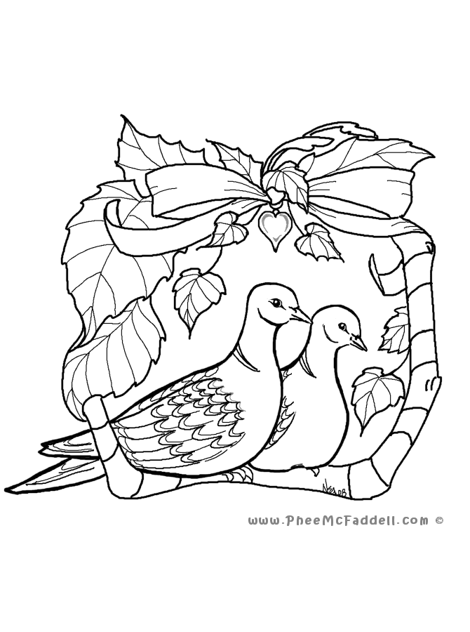 2 turtle doves coloring pages photo - 1
