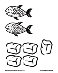 2fish and 5 loaves of bread coloring page photo - 1