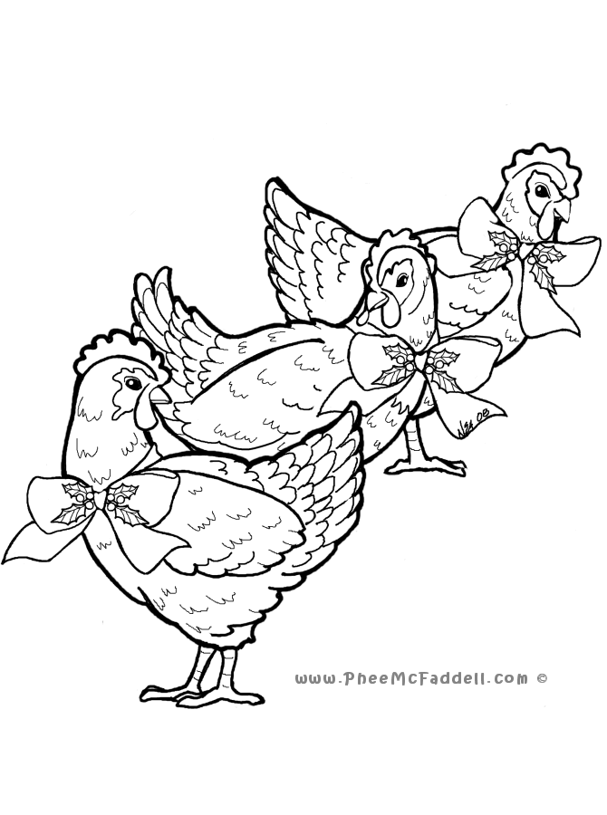 3 french hens coloring page photo - 1
