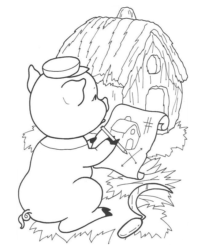 3 little pigs houses coloring pages photo - 1