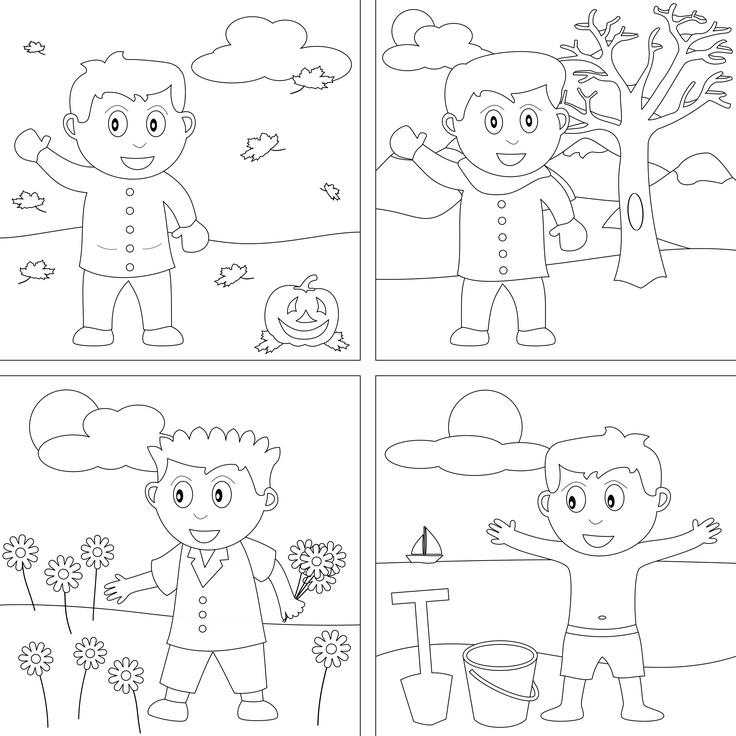 4 seasons coloring page photo - 1