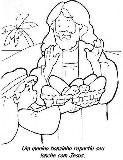 5 bread and 2 fish coloring page photo - 1