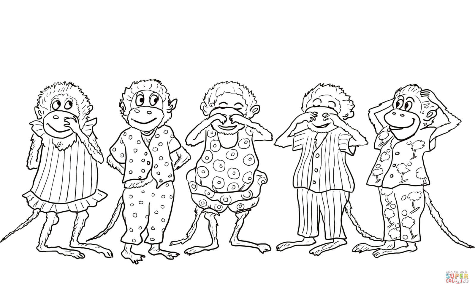 5 little monkeys jumping on the bed coloring pages photo - 1