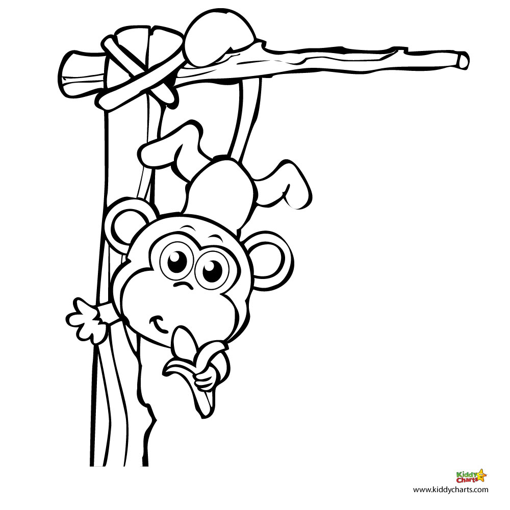 5 little monkeys swinging in the tree coloring page photo - 1