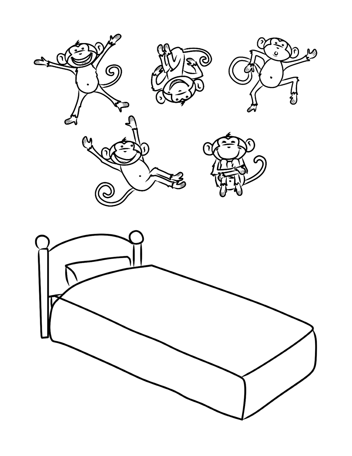 5 monkeys jumping on the bed coloring pages photo - 1