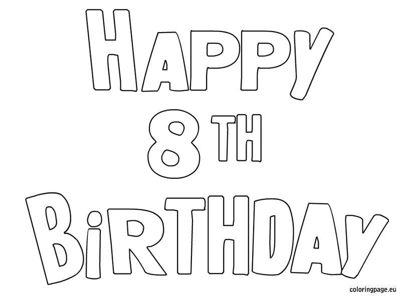 8th birthday coloring pages photo - 1
