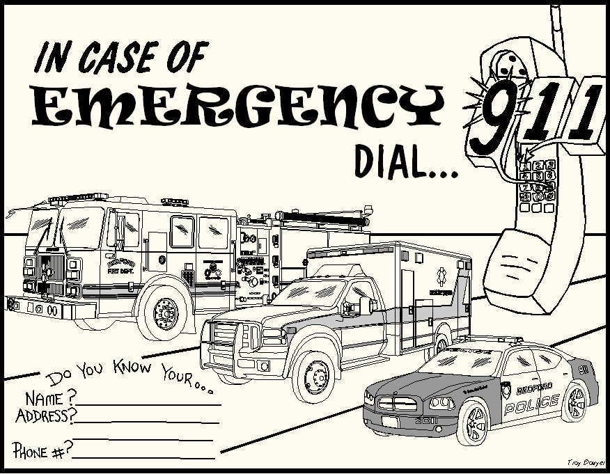 911 emergency coloring pages photo - 1