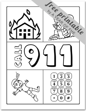 911 phone coloring page photo - 1