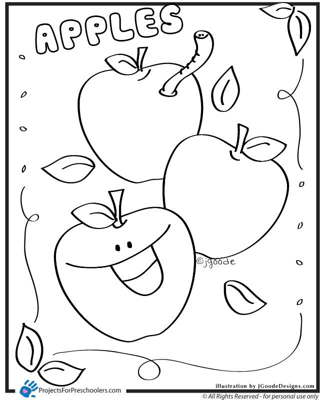 a coloring page of an apple photo - 1