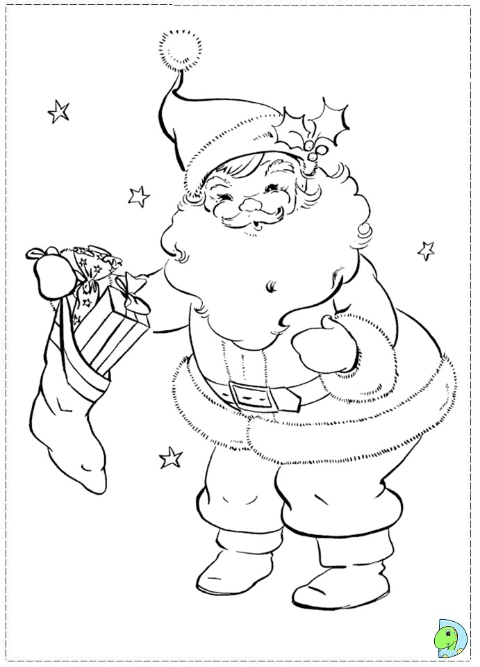 a coloring page of santa claus photo - 1