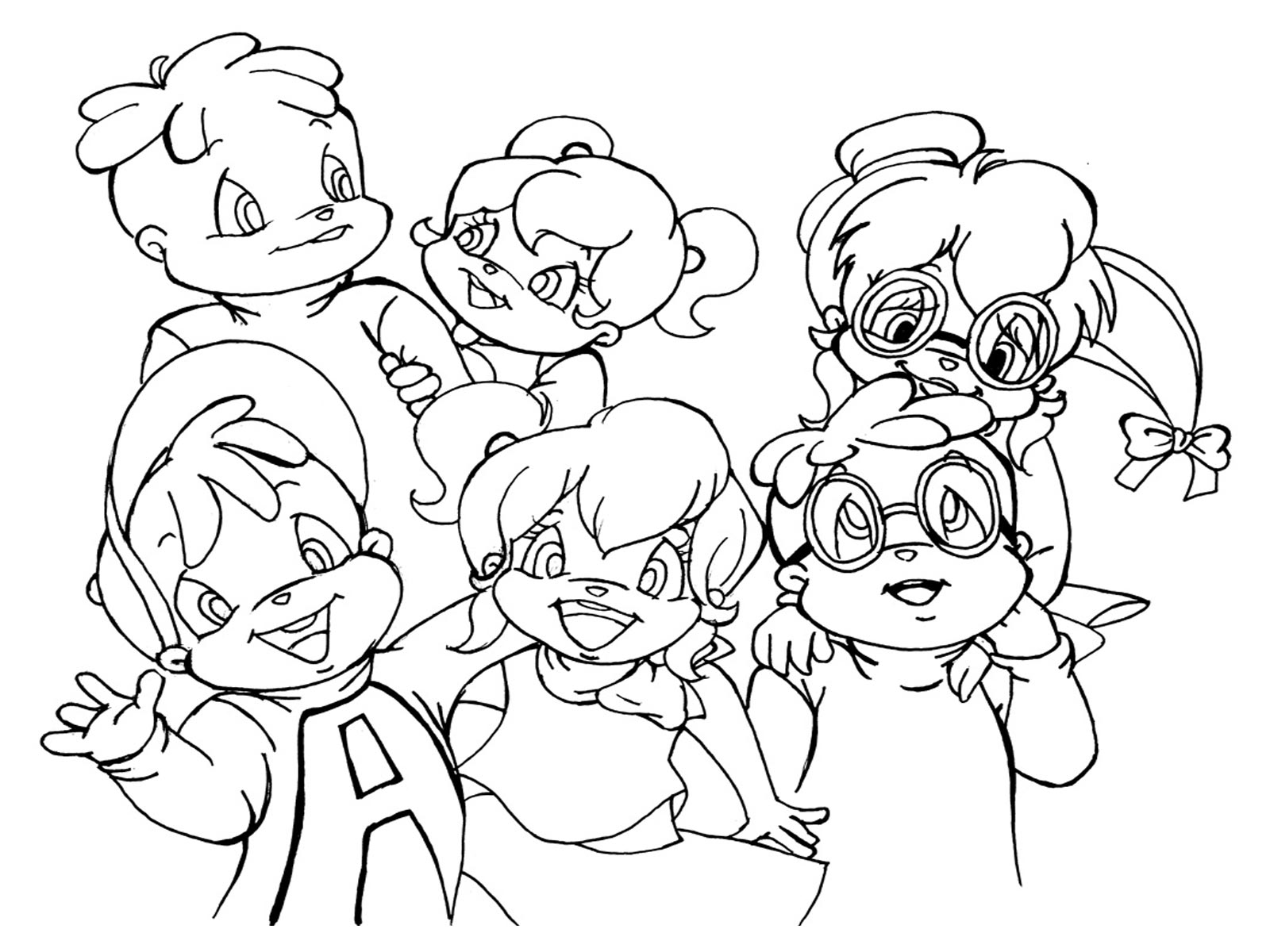 alvin and the chipmunks and chipettes coloring pages photo - 1