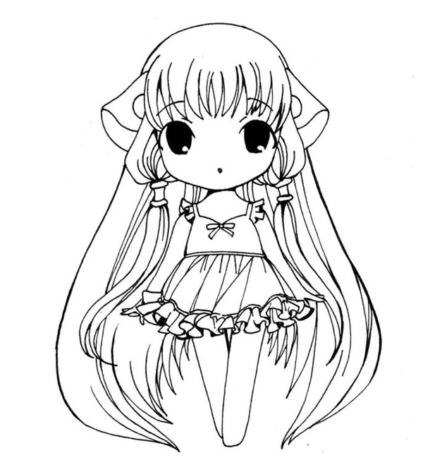 chibi anime girl coloring pages photo - 1