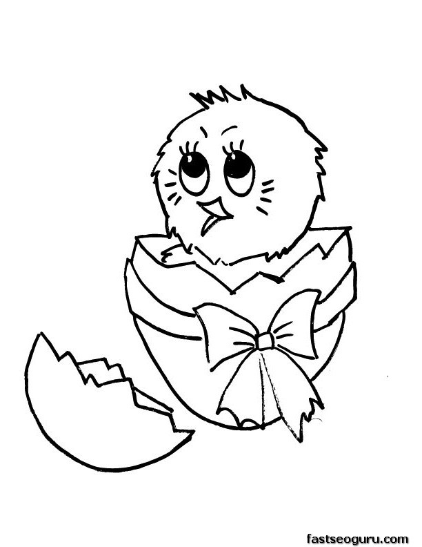 chick hatching from egg coloring page photo - 1