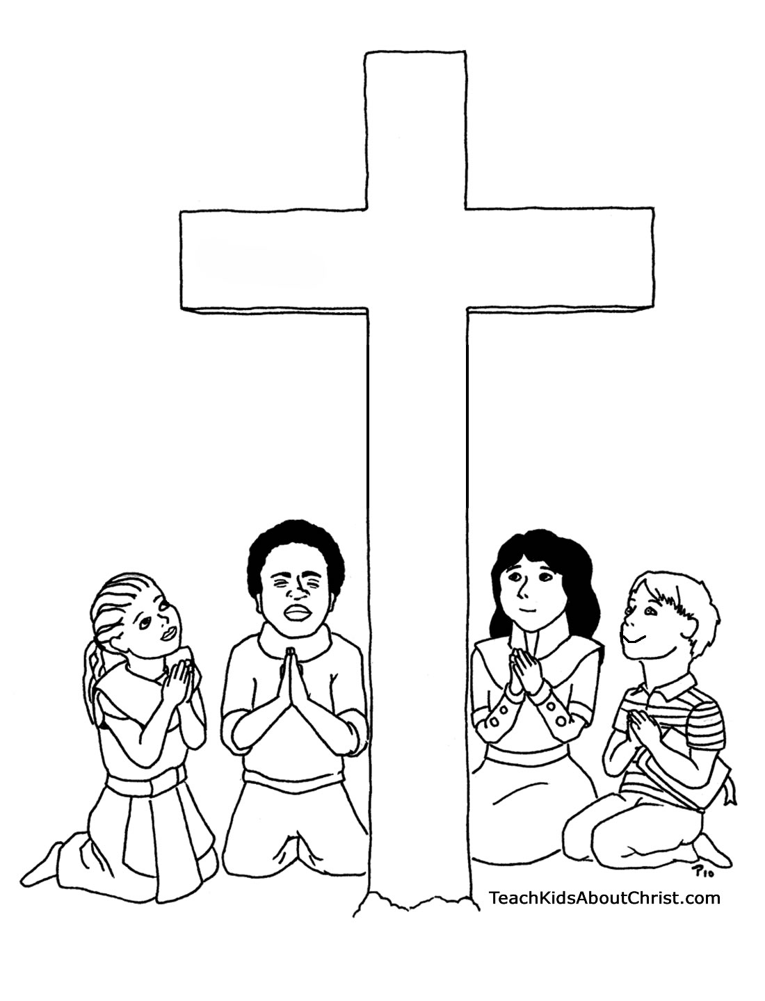 child kneeling coloring page photo - 1