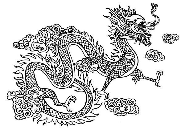 chinese dragon coloring pages photo - 1