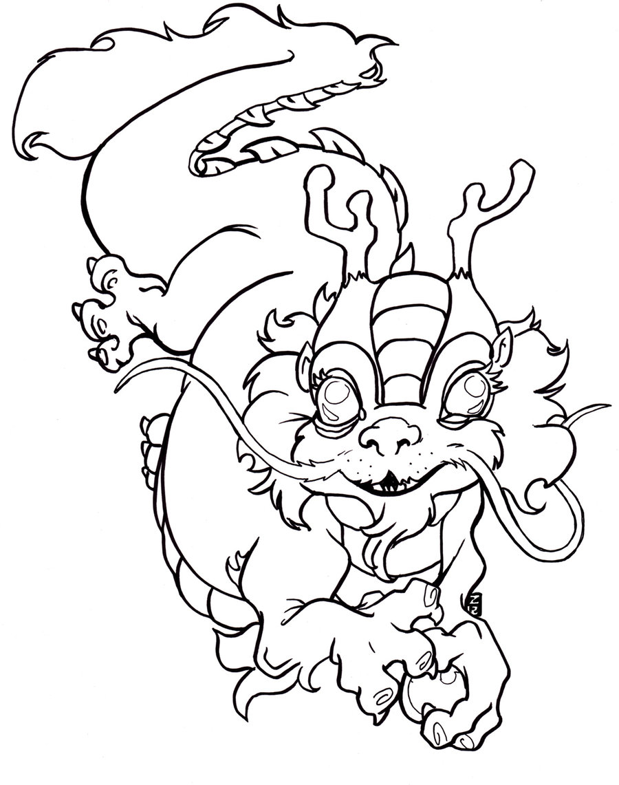 chinese dragon dance coloring page photo - 1