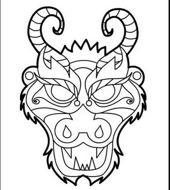 chinese dragon face coloring page photo - 1