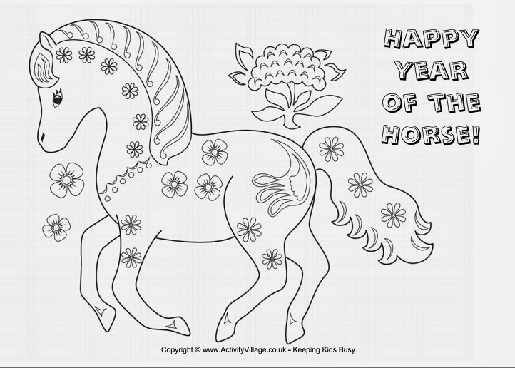 chinese new year year of the horse coloring page photo - 1