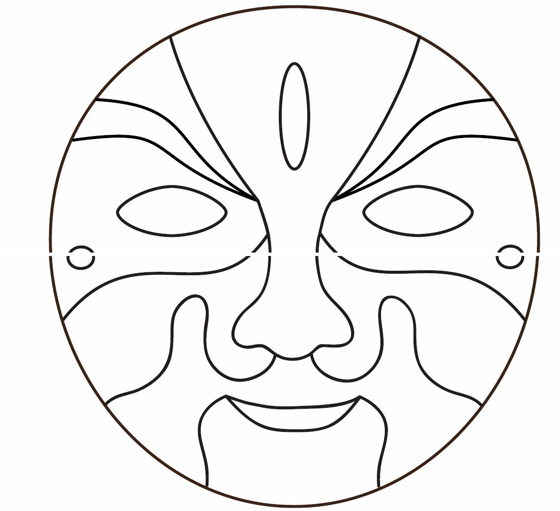 chinese opera masks coloring pages photo - 1