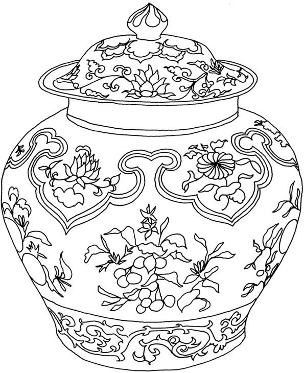 chinese vase coloring page photo - 1