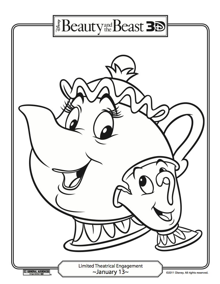 chip and mrs potts coloring pages photo - 1