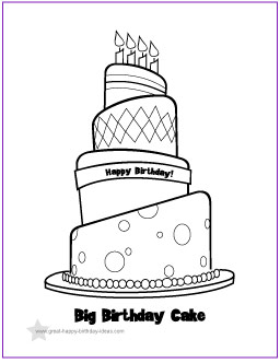 color pages of birthday cakes photo - 1