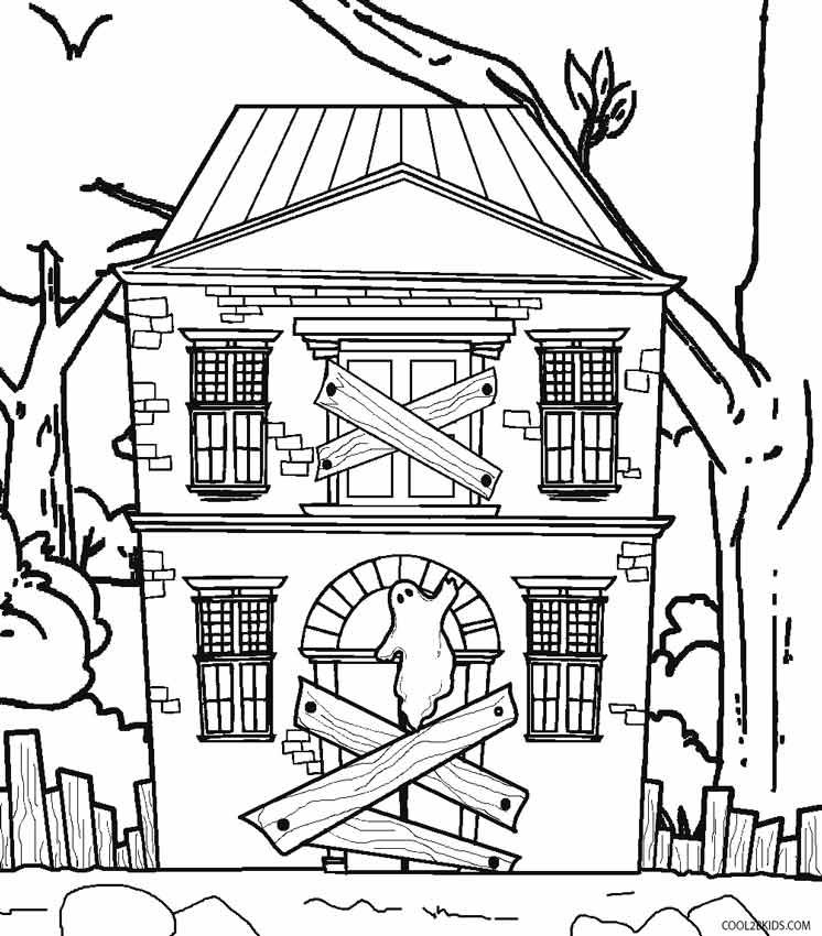 free printable halloween haunted house coloring pages photo - 1