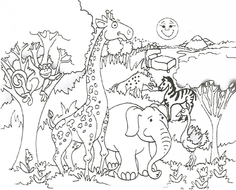 jungle animals coloring page photo - 1