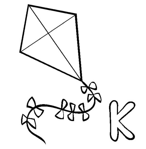 k for kite coloring pages photo - 1