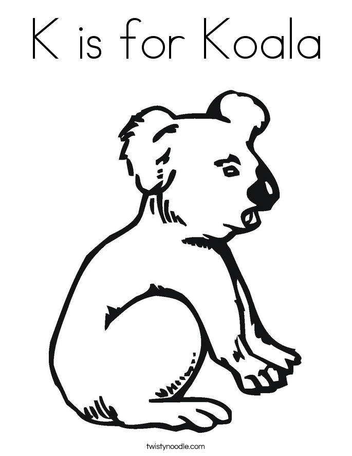 k is for koala coloring page photo - 1